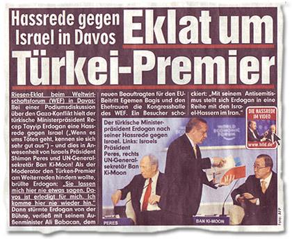 """[Ausriss Seite-1-Artikel] """"Hassrede gegen Israel in Davos: Eklat um Türkei-Premier"""""""