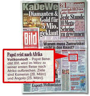 """""""Papst reist nach Afrika"""""""