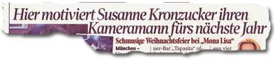 """""""Hier motiviert Susanne Kronzucker ihren Kameramann fürs nächste Jahr"""""""