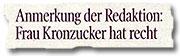 """""""Anmerkung der Redaktion: Frau Kronzucker hat Recht"""""""