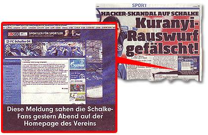 """""""Diese Meldung sahen Schalke-Fans gestern Abend auf der Homepage des Vereins"""""""