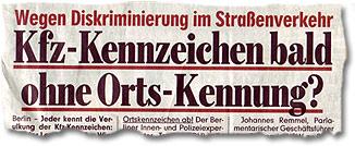 """""""Wegen Diskriminierung im Straßenverkehr: Kfz-Kennzeichen bald ohne Orts-Kennung?"""""""