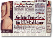 "BILD über die Verleihung des V.I.S.D.P.- bzw. VISDP-Preises ""Prometheus"" an zwei BILD-Redakteure"