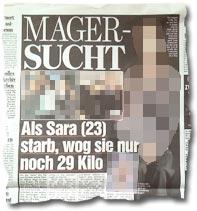 """""""Magersucht: Als Sara (23) starb, wog sie nur noch 29 Kilo"""""""