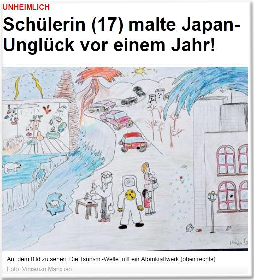 Unheimlich Schülerin (17) malte Japan-Unglück vor einem Jahr! Auf dem Bild zu sehen: Die Tsunami-Welle trifft ein Atomkraftwerk (oben rechts)
