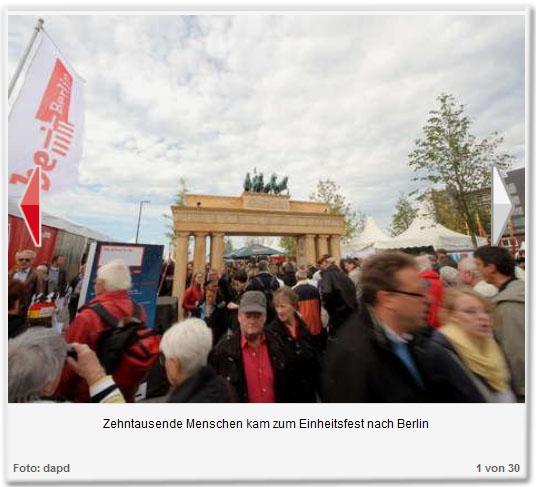 Zehntausende Menschen kam zum Einheitsfest nach Berlin