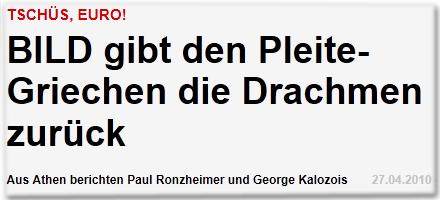 Tschüs, Euro! BILD gibt den Pleite-Griechen die Drachmen zurück Aus Athen berichten Paul Ronzheimer und George Kalozois