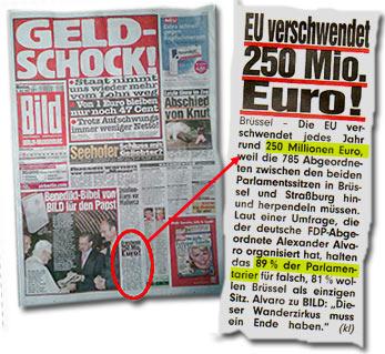 """""""EU verschwendet 250 Mio. Euro! -- Brüssel. DieEU verschwendet jedes Jahr rund 250 Millionen Euro, weil die 785 Abgeordneten zwischen den beiden Parlamentssitzen in Brüssel und Straßburg hin- und herpendeln müssen. Laut einer Umfrage, die der deutsche FDP-Abgeordnete Alexander Alvaro organisiert hat, halten das 89 % der Parlamentarier für falsch, 81 % wollen Brüssel als einzigen Sitz. Alvaro zu BILD:"""