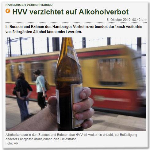 HVV verzichtet auf Alkoholverbot