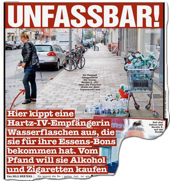 Unfassbar! Hartz-IV-Empfängerin kippt Wasserflaschen aus... ... die sie für ihre Essens-Bons bekommen hat, um vom Pfand Alkohol und Zigaretten zu kaufen