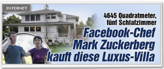 Facebookchef Mark Zuckerberg kauft diese Villa