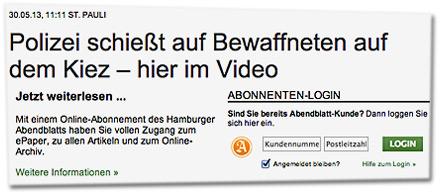 Polizei schießt auf Bewaffneten auf dem Kiez – hier im Video. Jetzt weiterlesen ... Mit einem Online-Abonnement des Hamburger Abendblatts haben Sie vollen Zugang zum ePaper, zu allen Artikeln und zum Online-Archiv.