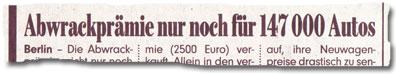 """""""Abwrackprämie nur noch für 147.000 Autos"""""""