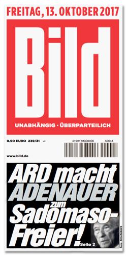 Ausriss Bild-Zeitung - ARD macht Adenauer zum Sadomaso-Freier!