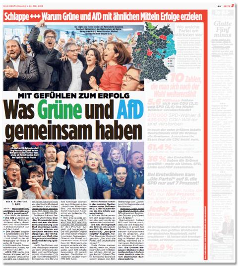 Ausriss Bild-Zeitung - Mit Gefühlen zum Erfolg - Was Grüne und AfD gemeinsam haben