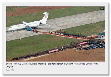 Die AIR FORCE UN: Groß, weiß, mächtig - sie transportiert in Zukunft Nordkoreas Diktator Kim Jing-un [sic!]
