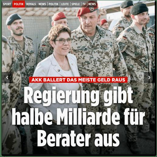 Screenshot Bild.de - Annegret Kramp-Karrenbauer ballert das meiste Geld raus - Regierung gibt halbe Milliarde für Berater aus