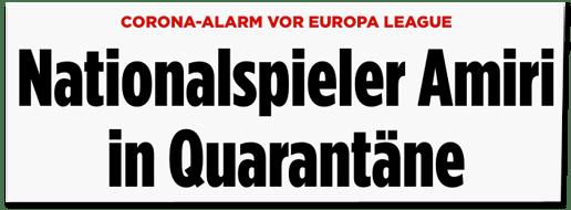 Screenshot Bild.de - Corona-Alarm vor Europa League - Nationalspieler Amiri in Quarantäne