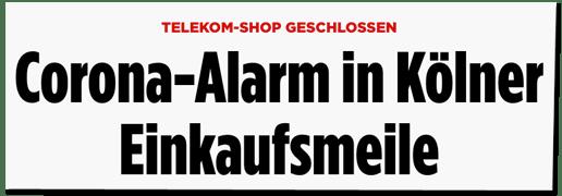 Screenshot Bild.de - Telekom-Shop geschlossen - Corona-Alarm in Kölner Einkaufsmeile
