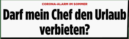 Screenshot Bild.de - Corona-Alarm im Sommer - Darf mein Chef den Urlaub verbieten?
