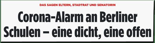 Screenshot Bild.de - Das sagen Eltern, Stadtrat und Senatorin - Corona-Alarm an Berliner Schulen – eine dicht, eine offen