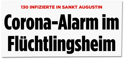 Screenshot Bild.de - 130 Infizierte in Sankt Augustin - Corona-Alarm im Flüchtlingsheim