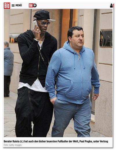 Berater Raiola (r.) hat auch den bisher teuersten Fußballer der Welt, Paul Pogba, unter Vertrag