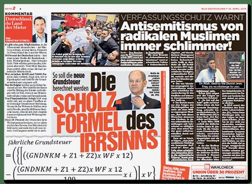 Großer Artikel auf Seite 2 der Bild-Zeitung - Überschrift: Verfassungsschutz warnt - Antisemitismus von radikalen Muslimen immer schlimmer!