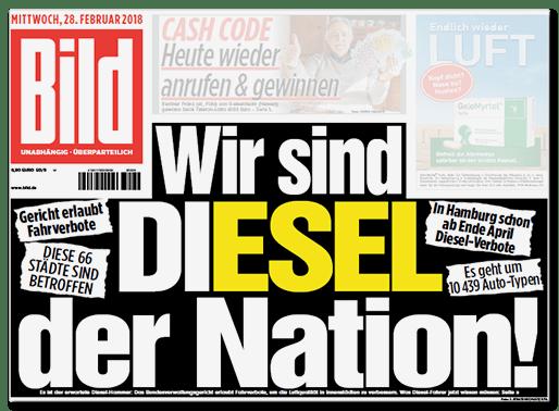 Bild-Titelseite: Wir sind DI-ESEL der Nation!