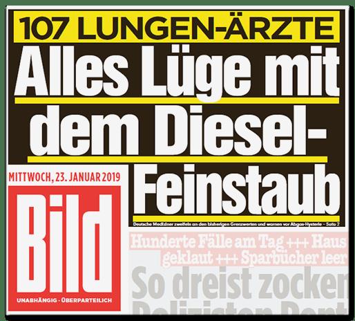 Bild-Titelseite - 107 Lungenärzte - Alles Lüge mit dem Diesel-Feinstaub