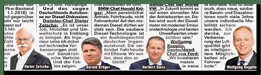 Artikel mit Stimmen von Dieter Zetsche, Harald Krüger, Herbert Diess und Wolfgang Kopplin