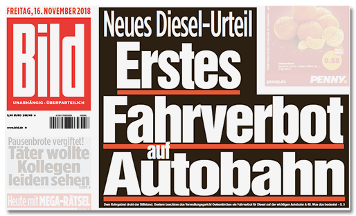 Bild-Titelseite - Neues Diesel-Urteil - Erstes Fahrverbot auf Autobahn