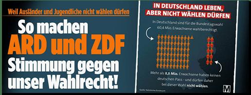 Screenshot Bild.de - Weil Ausländer und Jugendliche nicht wählen dürfen - So machen ARD und ZDF Stimmung gegen unser Wahlrecht