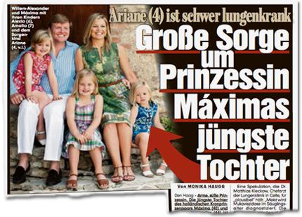Ariane (4) ist schwer lungenkrank. Große Sorge um Prinzessin Máximas jüngste Tochter.
