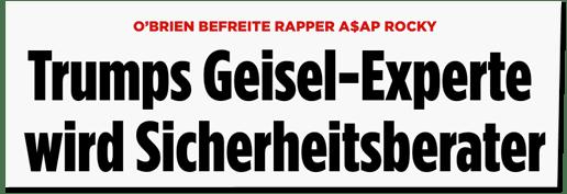 Screenshot Bild.de - O'Brien befreite Rapper A$AP Rocky - Trumps Geisel-Experte wird Sicherheitsberater