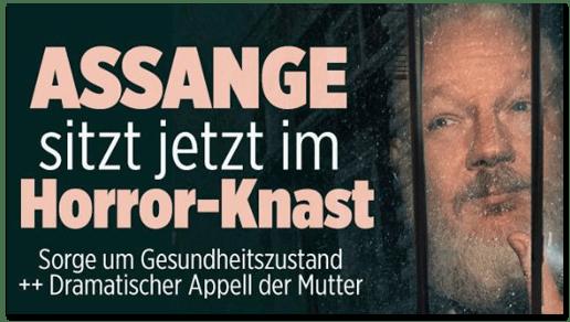 Screenshot Bild.de - Assange sitzt jetzt im Horror-Knast - Sorge um Gesundheitszustand - Dramatischer Appell der Mutter