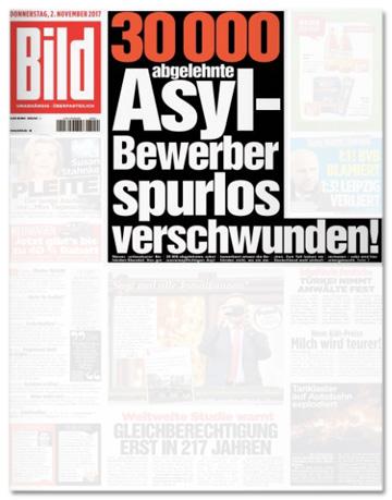 Ausriss Bild-Zeitung - 30000 abgelehnte Asylbewerber spurlos verschwunden!