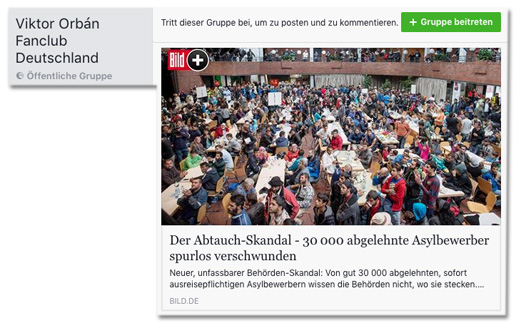 Screenshot Facebook des Postings in der Gruppe Viktor Orban Fanclub Deutschland