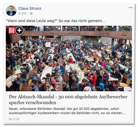 Screenshot Facebook des Postings von Claus Strunz