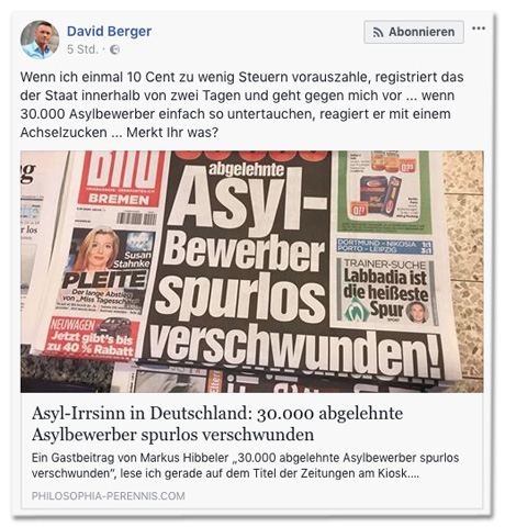 Screenshot Facebook des Postings von David Berger