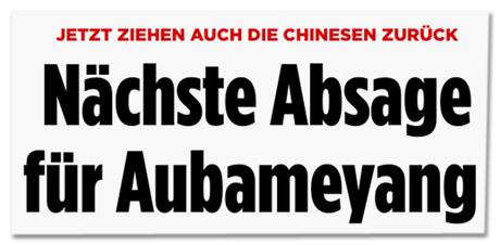 Ausriss Bild.de - Jetzt ziehen auch die Chinesen zurück - Nächste Absage für Aubameyang