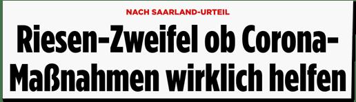 Screenshot Bild.de - Nach Saarland-Urteil - Riesen-Zweifel ob Corona-Maßnahmen wirklich helfen