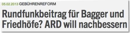 Rundfunkbeitrag für Bagger und Friedhöfe? ARD will nachbessern