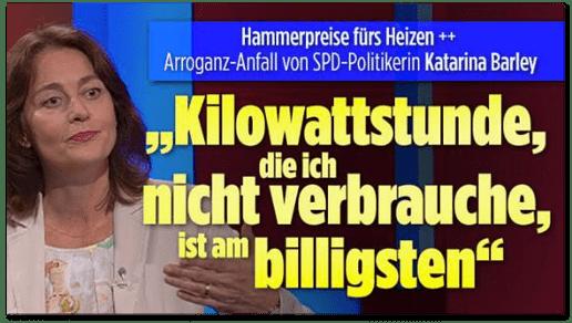 Screenshot Bild.de - Hammerpreise fürs Heizen - Arroganz-Anfall von SPD-Politikerin Katarina Barley - Kilowattstunde, die ich nicht verbrauche, ist am billigsten