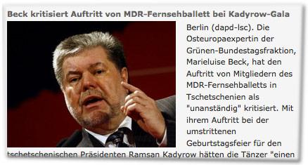 Beck kritisiert Auftritt von MDR-Fernsehballett bei Kadyrow-Gala