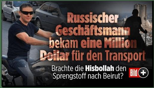 Screenshot Bild.de - Russischer Geschäftmann bekam eine Million Dollar für den Transport - Brachte die Hisbollah den Sprengstoff nach Beirut?