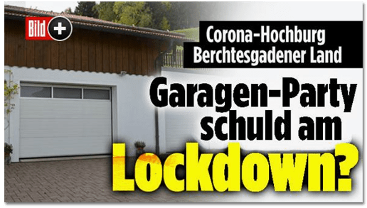 Screenshot Bild.de - Corona-Hochburg Berchtesgadener Land - Garagen-Party schuld am Lockdown?
