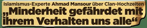 Ausriss Bild-Zeitung - Islamismus-Experte Ahmad Mansour über Clan-Hochzeiten - Minderheit gefährdet mit ihrem Verhalten uns alle
