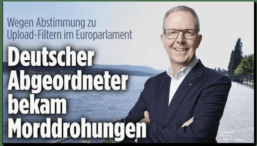 Screenshot Bild.de - Wegen Abstimmung zu Upload-Filtern im Europaparlament - Deutscher Abgeordneter bekam Morddrohungen