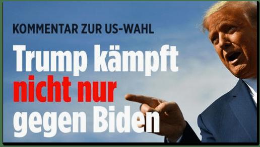Screenshot Bild.de - Kommentar zur US-Wahl - Trump kämpft nicht nur gegen Biden